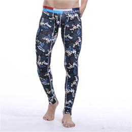 Wholesale Long Sleeve Thermal Wholesale - Wholesale-Cotton Printing Warm Men Long Johns Leggings Thermal Underwear Bottom Pants