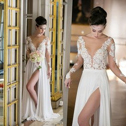 Wholesale Lace Plunging Sexy Wedding Dress - Plunging Neck Sheer Long Sleeves Summer Beach Wedding Dresses 2017 Sexy High Split Front Backless Bohemian Bridal Gowns
