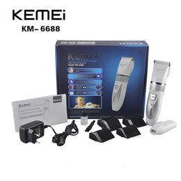 Wholesale Men Barber Clippers - KEMEI KM6688 Hair Trimmer Clipper KM-6688 Rechargeable Electric Hair Clipper Barber Scissors Trimmer Grooming Kit Men(0604054)