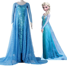 Wholesale Hot Movie Original Beaitiful Princess Elsa Cosplay Costume Blue Dress Hand made Long Dress Any Size Halloween Chrismas