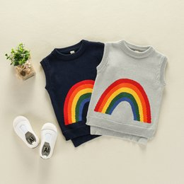 Wholesale Baby Knitting Vests - Baby Boy Pullover Sweater Rainbow Knitted Sweater Sleeveless Autumn Winter Cotton Vest 17092402