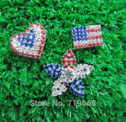Wholesale Metal Flower Embellishments Wholesale - New Arrival!100pcs lot(LO-116) America Flag Style colorful rhinestone metal button embellishment hair flower DIY ornaments M65379 Buttons