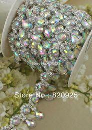 Wholesale Diamante Rhinestone Yard - Wholesale-1 Yards Clear Rhinestone AB Crystal Diamante Applique Costume Sewing Trims WB80