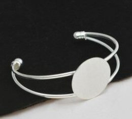 Wholesale Silver Bezel Blanks - Wholesale Fashion 10Pcs 25MM Round Pad Silver Plated Bangle Women Or Men Cuff Lock Blank Bracelet Bangle For Christmas Gift