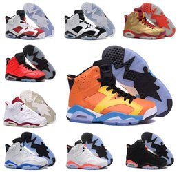 Wholesale Cat Army Green - new 2016 man basketball shoes air retro 6 black cat Angry bull carmine infrared oreo maroon Metallic Gold sport sneaker us size 8-13