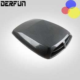 Wholesale White Car Hood Sticker - Black White Silver Air Flow Car Simulation Wind Mesh Air Flow Intake Scoop Turbo Bonnet Vent Cover Hood Decorate Car Styling