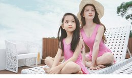 Wholesale Womens Swimsuit Xl - Mother and daughter swimsuits children's swimsuit girls backless bows dress Siamese swimwear womens beach swimwear Family outfits 7449