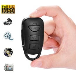 Wholesale Home Security Video Recording - HD 1080P car key video camera Mini Car Keychain pinhole camera digital video recorder car key home Security DVR support loop recording