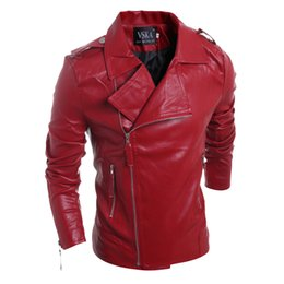 Wholesale Leather Jackets Punk Style Men - Mens Motorcycle Suede Jacket Solid Style Red Black white Faux Leather Jackets Men Slim Fit Male Punk Man Coat