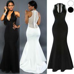 Wholesale Black Mesh Panel Maxi Dress - Women Sexy Full-Length Party Dress Sexy Fishtail Dress Mesh Gauze Skirt Nightclub Slim Sleeveless V-Neck Dress Dress Black White