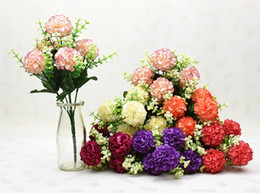 Wholesale Handmade For Head - 10 Bouquets Artificial Handmade Hydrangea Flower 5 Heads For Wedding Home Bridal Bouquet Decoration