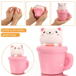 Wholesale Pussy Cupping - Squishy Cup Cat Pussy Pink Slow Rising 14cm Kawaii Animal Decompression Bread Cake Sweet Scented Phone Pendant Toy Gift