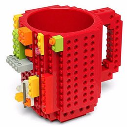 Wholesale Mega Cartoons - 2016 Creative DIY Build-on Brick Mugs Lego Pixel Blocks Mega Blocks KRE-O K'NEX Compatible Bricks Cartoon Coffee drink Cup Drinkware