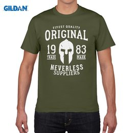 Wholesale Men Slim Fit Tee Cheap - New 2017 Spring Summer Autumn Men O-Neck Sunlight Men Gladiator Sparta Helm Vintage Slim Fit custom Tee Shirts Cheap