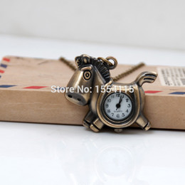 wholesale horse watches Coupons - Fashion Cartoon Horse Pocket Watch Necklace Vintage Jewelry wholesale Korean sweater chain Wholesale