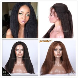 Wholesale Long Half Wig Human Hair - Premierlacewigs in Stock Kinky Straight Brazilian Virgin Remy Human Hair Lace Front Wig Average M size Brown ace Color lFor Black Ladies