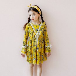 Wholesale Lace Beige Dress Belt - New 2017 Girls Dresses Long Sleev Floral Chiffon Dress Pricness Clothing Flowers Printed Dresses Lace Bow Belt Yellow Red Beige White A7512
