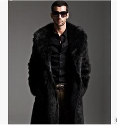 Wholesale Mens Black Leather Winter Overcoats - Mens Faux Fur Coats Long Trench Coat Fur Collar Leather Suede Jacket Men Overcoats Warm Winter Luxury Male Jackets