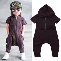 Wholesale Boys Cool Outfit - Kids Hoodie jumsuit fashion rompers kid clothing short sleeve baby boys nightwear zipper outfits harem pants cool guys clothes