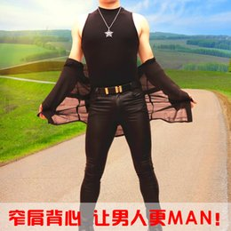 Wholesale Sexy Leotard Men - Fall-Men Sexy Charm High-necked Sleeveless Tight Vest Siamese Leotard