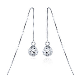 Wholesale Round Silver Ball Earring - Christmas presents new pure 925 sterling silver rhodium plated 9mm round ball earring long chain jewelry anti-allergic cheap wholesale