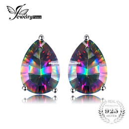 Wholesale Sterling Silver Mystic Topaz Earrings - JewelryPalace Pear Concave 4.7ct Genuine Rainbow Fire Mystic Topaz 925 Sterling Silver Stud Earrings For Women Vintage Jewelry