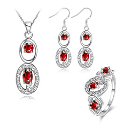 Wholesale Gemstones Ring Designs - Wedding fashion Hollow design 925 silver necklace earring ring a famliy of three jewelry sets;sterling silver red gemstone set GTFS082C