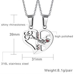 """Wholesale Tungsten Key Pendant - Romantic Couples Heart Key Crystal Pendant Her & His Love Necklace Set Lover Valentine Stainless Steel 24"""" Chain"""