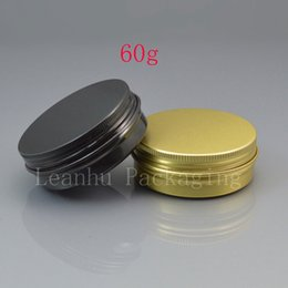 Wholesale Empty Gift Boxes - 60g black empty aluminum cosmetic containers 2oz aluminum jar with screw lid 60ml metal gold box aluminum gift containers
