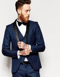 Wholesale Wool Slim Tie - Side Vent Slim Fit Groom Tuxedos Shawl Collar Men's Suit Navy Blue Groomsman Bridegroom Wedding Prom Suits (Jacket+Pants+Tie+vest)J769