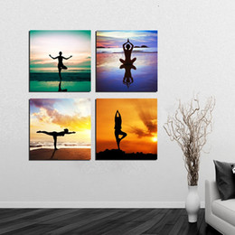 Wholesale Canvas Pier - Free Shipping 4 Pieces unframed Canvas Prints butterfly flower Dandelion yoga Cartoon girl dog Sailing boat ship on the sea Wooden pier