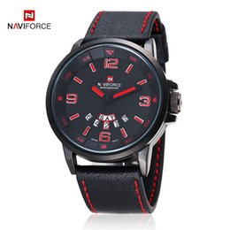 Wholesale Mens Military Digital Watch - Brand NAVIFORCE Fashion military Vogue Leather 30m Waterproof Date Day Quartz Analog Clock Army Mens sports watch Wrist Watches