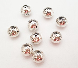 Wholesale Peony Charms - Stock clear DIY 036# 8mm Vintage Tibet silver Alloy round flower peony spacer Beads fit charm bracelet jewelry making 50pcs lots