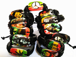 Wholesale Resin Characters - Brand New 48PCs Bob Marley Jamaica Reggae Rasta Fashion Black Leather Bracelets men's women's wholesale lots