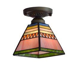 Techo luz color vidrio online-Tiffany pirámide Corredor Techo Colgante Luz Lámpara de Techo de Cristal de Dormitorio de Color Balcón Pasillo Porche Luz de Techo