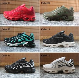 Wholesale Discount Mens Tennis Shoes - Discount Brand Sports Running Shoes New Air Cushion TN For Men Black White Red Mens Runner Sneakers Man Trainers Tennis Shoes