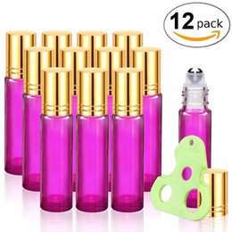 Wholesale wholesale roll bottles - 10ml Essential Oils Roller Bottles Glass Roll on Bottles with Metal Roller Balls Gold Caps, Essential Oils Key included (Pink)