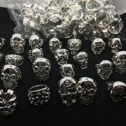 Wholesale Gothic Wedding Ring Men - 24pcs lot Gothic Big Skull Ring Man Birthday Present Bohemian Punk Vintage Mix Style Jewelry 2016 Religion Statement Rings for Men size 7-12