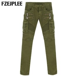Wholesale Black Military Pants For Men - Wholesale-Trend folds stretch jeans feet Men's Cargo Pants Army Green Outdoor Sports Casual Pants Cotton Trousers For Men pants trousers