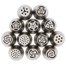 Wholesale Wholesale Nozzle Tips - Wholesale- 12Pcs Russian Tulip stainless steel Nozzles birthday Cake Cupcake Decorating Icing Piping Nozzles Rose Flower Cream Pastry Tips