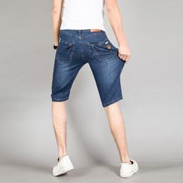 Wholesale Jean S Elasticity - Wholesale-2016 Summer fashion casual shorts Men's jeans Lightweight High Elasticity jean shorts cotton Large Size 28-40 3014