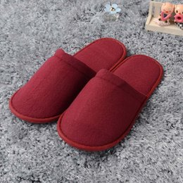 Wholesale Wholesale Salon Slippers - 3 colors Hotel disposable slippers high-grade woolen beauty salon cotton slippers home travel non-slip bathroom home slippers