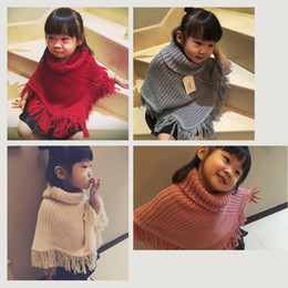 Wholesale Childrens Turtlenecks - Thick Warm Baby Girls Poncho Cape Christmas 2017 Autumn Winter Childrens Kids Clothing Wedding Party Poncho Cape Knitted Kids