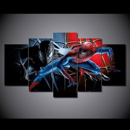Wholesale Hd Movie Pictures - 5 Panel HD Printed Spider Man Movie Painting Canvas Print room decor print poster picture canvas Free shipping