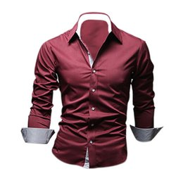 Wholesale High Collar Slim Fit Shirt - Wholesale- TFGS Style Design Mens Shirts high quality Casual Slim Fit Stylish Dress Shirts 5 Colors Size:M~3XL