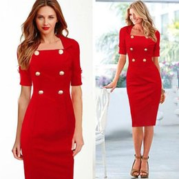 Wholesale Celebs Dresses Red - Women Elegant Celeb Button Business Wear To Work Sheath Shift Tunic Bodycon Full Dress Women Summer Party Dresses