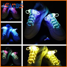 Wholesale Led Lights Shoelace - 2017 New Arrival Light Up LED Shoelaces Fashion Flash Disco Party Glowing Night Sports Shoe Laces Shoe Strings Multicolors