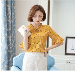 Wholesale Puff Sleeved Blouse - Elegant Bow Tie Printing Floral Blouses & Shirts Women's 2017 Spring Shirt Ladies Long-sleeved Chiffon Blouse Fashion Women Tops