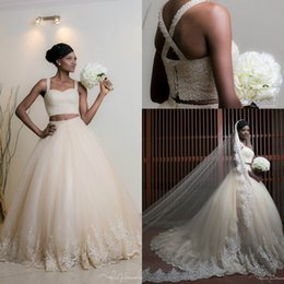 Wholesale Lace Cross Back Wedding Dress - 2017 Two Pieces Ball Gown Wedding Dresses Sweetheart Major Beading Criss Cross Back Beaded Crystals Lace Bridal Gowns with Court Train