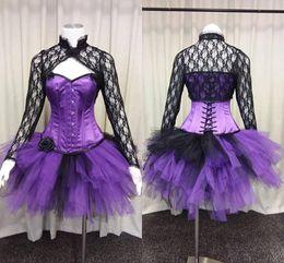 2019 vestidos de fiesta góticos púrpura Vestidos de baile corto gótico púrpura vintage con chaqueta de encaje 2018 Real Image Corsé traje de Steampunk tutú traje de noche Vestido de desgaste vestidos de fiesta góticos púrpura baratos